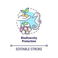 Biodiversity protection concept icon. Carbon offsetting abstract idea thin line illustration. Healthy ecosystems. Natural habitats preservation. Vector isolated outline color drawing. Editable stroke