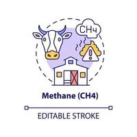 Methane concept icon. CH4 abstract idea thin line illustration. Greenhouse effect contribution. Natural gas component. Livestock raising. Vector isolated outline color drawing. Editable stroke