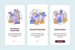 Human carbon emissions causes onboarding mobile app page screen with concepts. Fossil fuel burning walkthrough 3 steps graphic instructions. UI, UX, GUI vector template with linear color illustrations