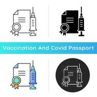 Vaccine quality certificate icon. Vaccination license. Disease treatment. Professional drug. Health care and medicine. Linear black and RGB color styles. Isolated vector illustrations