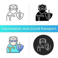 Vaccination of elderly people icon. Priority list age group. Senior man for vaccine injection. Health care and medicine. Linear black and RGB color styles. Isolated vector illustrations