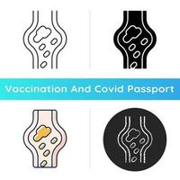 Blood clots icon. Cardiovascular circulation problem. Disease symptom. Vaccination side effect. Health care and medicine. Linear black and RGB color styles. Isolated vector illustrations