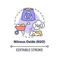 icono del concepto de óxido nitroso. n2o idea abstracta ilustración de línea fina. gases de efecto invernadero. materiales orgánicos a base de nitrógeno. actividad agrícola. dibujo de color de contorno aislado vectorial. trazo editable vector