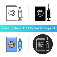 Vaccine passport icon. Traveller ID pass, tourist card. Vaccinated passenger license. Professional treatment. Health care and medicine. Linear black and RGB color styles. Isolated vector illustrations