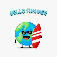 Cute earth mascot carrying a surfboard with summer greetings vector