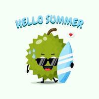 Cute durian mascot carrying surfboard in summer vector