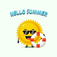 Cute sun mascot carrying a float with summer greetings vector
