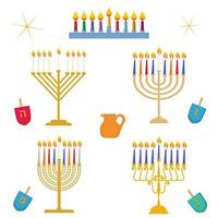 Different types of Hanukkah Festival of Light traditional golden menorah candelabrum with colorful candles vector set