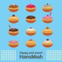 Donut festivo judío tradicional de Hanukkah con diferentes glaseados vector