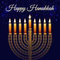 Hanukkah Jewish Festival golden menorah traitional candelabra and candles lightsd vector