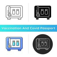 Vaccine storage icon. Refrigerator with drug vials. Storing pharmaceutical supplies. Cooler with medical bottles. Health care. Linear black and RGB color styles. Isolated vector illustrations