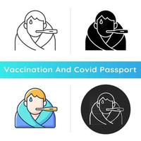 Fever icon. Disease symptom. Allergic reaction. Patient with temperature. Vaccination side effect. Health care and medicine. Linear black and RGB color styles. Isolated vector illustrations