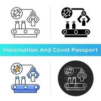 Vaccine manufacturer icon. Pharmaceutical production. Automated medication distribution. Health care and medicine industry. Linear black and RGB color styles. Isolated vector illustrations