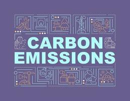 Bandera de conceptos de palabra de emisiones de carbono. liberación de co2. efecto secundario negativo. infografías con iconos lineales sobre fondo morado. tipografía creativa aislada. ilustración de color de contorno vectorial con texto vector