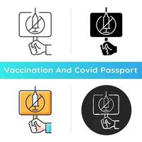 Anti vaxxer icon. Demonstration against covid drug injections. Placard for anti vax protest. Health care and medicine. Linear black and RGB color styles. Isolated vector illustrations
