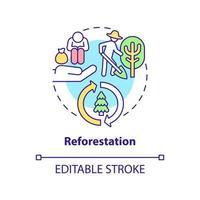 icono del concepto de reforestación. beneficio de compensación de carbono idea abstracta ilustración de línea fina. Renovación de la cubierta forestal. preservación de la vida silvestre. dibujo de color de contorno aislado vectorial. trazo editable vector