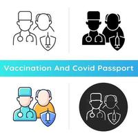 Vaccination priority list icon. Senior patient with doctor. Age group for vaccine injection. Health care and medicine. Linear black and RGB color styles. Isolated vector illustrations