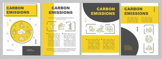 Carbon emissions brochure template. Natural, anthropogenic sources. Flyer, booklet, leaflet print, cover design with linear icons. Vector layouts for presentation, annual reports, advertisement pages
