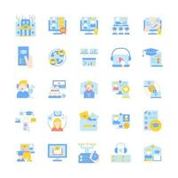 Online tutoring vector flat color icon set. Skill development with elearning course. Education and tutorial on internet. Cartoon style clip art for mobile app pack. Isolated RGB illustration bundle