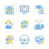 Distance studying vector flat color icon set. Remote teaching. Online education and tutorial on internet. Cartoon style clip art for mobile app pack. Isolated RGB illustration bundle