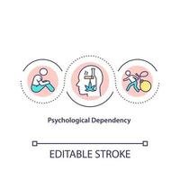 Psychological dependency concept icon. Treatment of human illnesses. Addiction fighting abstract idea thin line illustration. Vector isolated outline color drawing. Editable stroke