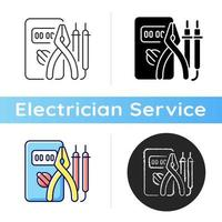 Electrician tools icon. Test instruments. Ensuring optimal safety. Screwdrivers. Electrical engineering field. Circuit analyzer. Linear black and RGB color styles. Isolated vector illustrations