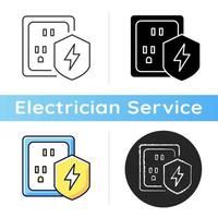Surge protection icon. Electrical installation protection. Voltage spikes risk prevention. Equipment safety in household. Linear black and RGB color styles. Isolated vector illustrations