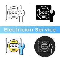 Electrical meter repair icon. Clock-like device installation. Energy meter maintenance. Providing information about energy usage. Linear black and RGB color styles. Isolated vector illustrations