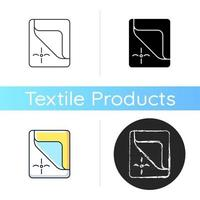 Mattress cover icon. Bed duvets. Soft clean sheets. Dust protector. Textile products, household cloths. Domestic item. Linear black and RGB color styles. Isolated vector illustrations