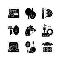 actividades de campamento de verano iconos de glifos negros en espacios en blanco. voleibol de playa. ping pong. tiro al arco. paseos a caballo. formación de salvavidas. símbolos de silueta. vector ilustración aislada