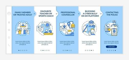 Making cyberbullying complaint onboarding vector template. Responsive mobile website with icons. Web page walkthrough 5 step screens. Professional counselling color concept with linear illustrations
