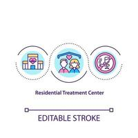 Residential treatment center concept icon. Health care facility for helping people. Cure addiction abstract idea thin line illustration. Vector isolated outline color drawing. Editable stroke