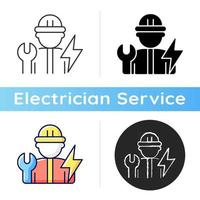 Electrician icon. Electrical wiring system installation and maintenance. Operating with electric devices. Fixing power systems. Linear black and RGB color styles. Isolated vector illustrations