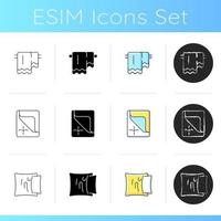 Textile products for house icons set. Hanging bath towerls. Mattress cover, dust protectors. Pillow case, soft cushion. Linear, black and RGB color styles. Isolated vector illustrations