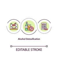 Alcohol detoxification concept icon. Clearing human body from toxic drugs. Alcoholism treatment abstract idea thin line illustration. Vector isolated outline color drawing. Editable stroke