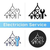 Power line repair icon. Maintenance on transmission lines. Hotline repair. Live-line working. Electrical energy. Transformers damage. Linear black and RGB color styles. Isolated vector illustrations