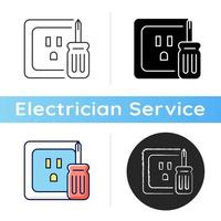 Outlet repair icon. Electrical plugs and sockets. Voltage testing. Devices connection. Damaged wires fixing. Fire hazard prevention. Linear black and RGB color styles. Isolated vector illustrations