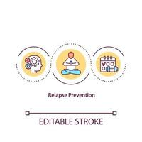 Relapse prevention concept icon. Addiction treatment with medical help. Making human body healthier idea thin line illustration. Vector isolated outline color drawing. Editable stroke