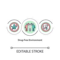 Drug free environment concept icon. Surrounding without dangerous medicaments. Fighting with narcotics idea thin line illustration. Vector isolated outline color drawing. Editable stroke