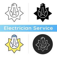 Exploding light bulb icon. Pressure imbalance. Overheated bulb. Glass shards. Excessive wattage. Electrical requirements. Linear black and RGB color styles. Isolated vector illustrations