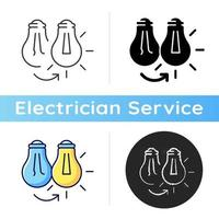 Changing lightbulb icon. Electrical repair. Bulb replacement. Avoiding electrocution injury. Leaving light bulb sockets empty. Linear black and RGB color styles. Isolated vector illustrations