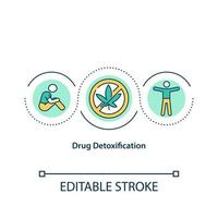 Drug detoxification concept icon. People stop drug consumption. Narcotics addiction treatment abstract idea thin line illustration. Vector isolated outline color drawing. Editable stroke