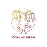 Social wellbeing concept icon. Carbon offset abstract idea thin line illustration. Community health improvement. Minimizing pollution. Affecting people health. Vector isolated outline color drawing