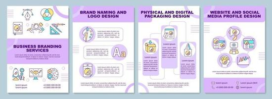 Business branding services brochure template. Brand naming. Flyer, booklet, leaflet print, cover design with linear icons. Vector layouts for presentation, annual reports, advertisement pages
