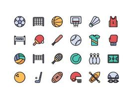 Sports and Fitness Lineal Color Icon Set vector