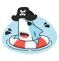 Cute shark Pirate  swimming inflatable ring vector