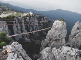 The high cable briges in the peak of Ai-Petri mountain, Crimea photo