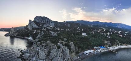 Panorama. Beautiful rock near the Black sea. Crimea photo