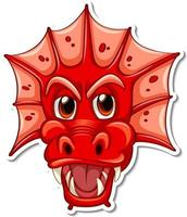 Face of red dragon cartoon character sticker vector