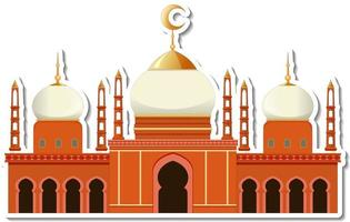 A sticker template with Mosque building isolated vector